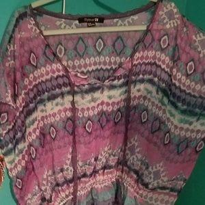 Multicolor sheer blouse
